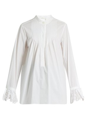 Pintucked cotton-poplin blouse
