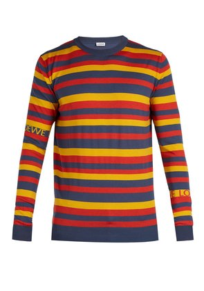 Logo-intarsia striped sweater