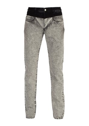 Contrast-waistband washed denim jeans