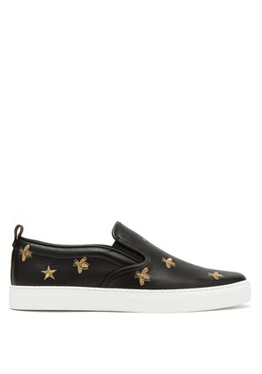 Dublin embroidered-leather slip-on trainers
