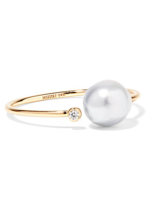 Mizuki - 14-karat Gold, Diamond And Pearl Ring - 7