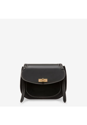Large en negro para Bag mujer Black Saddle Bally B liso Turn Bovino qZHIH