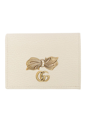Gucci Off-White Leather Bow Card Holder