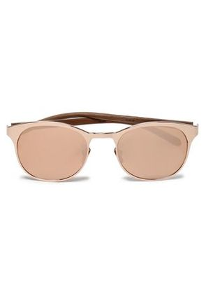 Linda Farrow Woman Round-frame Rose Gold-tone Mirrored Acetate Sunglasses Rose Gold Size -