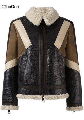 Neil Barrett panelled leather jacket - Brown