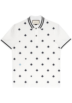 Gucci Cotton polo with bees and stars - White