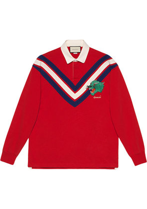 Gucci Chevron polo with panther face - Red
