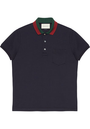 Gucci Cotton polo with Web collar - Blue