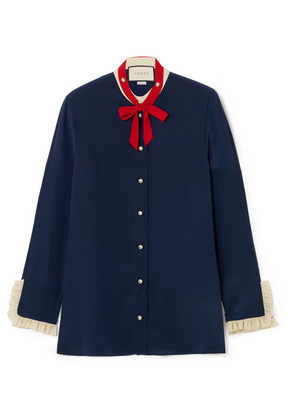 Gucci - Pussy-bow Ruffled Silk Blouse - Navy