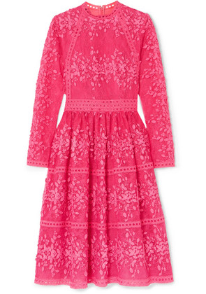 Costarellos - Lace-trimmed Embroidered Tulle Dress - Fuchsia