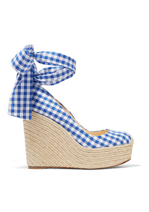 Christian Louboutin - Barbaria Zeppa 120 Gingham Canvas Wedge Espadrilles - Navy