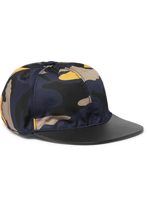Camouflage-print Shell And Leather Baseball Cap