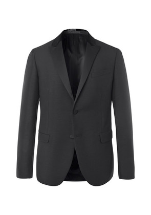 Black Slim-fit Embellished Mohair And Virgin Wool-blend Tuxedo Jacket
