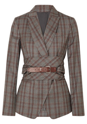Brunello Cucinelli - Belted Plaid Wool Blazer - Gray