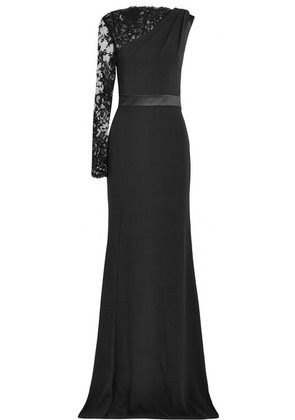 Alexander McQueen - Lace-trimmed Crepe Gown - Black