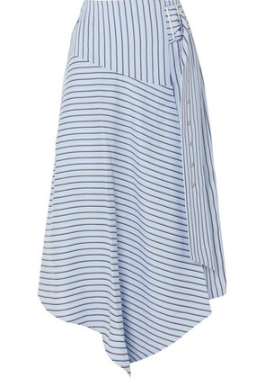 Tibi - Wrap-effect Striped Poplin Midi Skirt - Blue