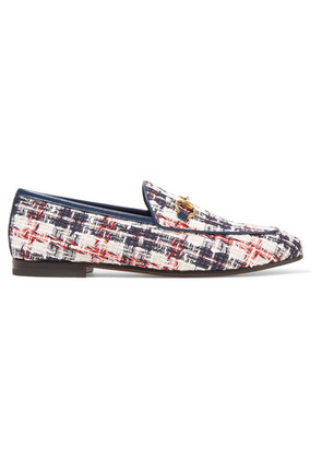 Gucci - Jordaan Horsebit-detailed Leather-trimmed Tweed Loafers - White