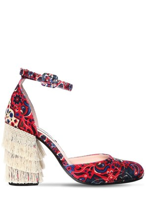 100MM JACQUARD VELVET PUMPS