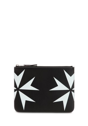 PRINTED STARS LEATHER POUCH