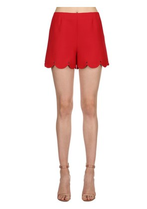SCALLOPED STUDDED WOOL SILK CREPE SHORTS