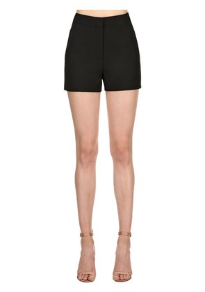 HIGH WAIST WOOL SILK CREPE SHORTS
