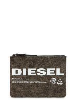 LOGO PRINTED WASHED DENIM POUCH