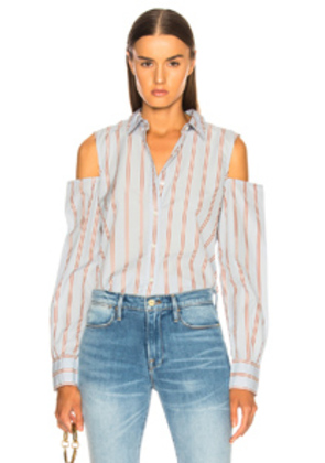 FRAME Shoulderless Top in Blue,Stripes