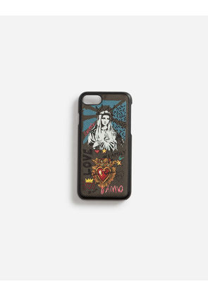 Dolce & Gabbana Hi-Tech Accessories - IPHONE 7/8 COVER IN PRINTED DAUPHINE CALFSKIN MULTICOLOR