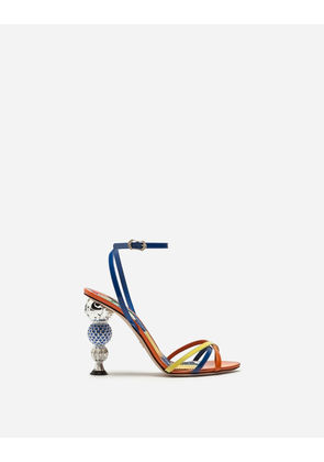 Dolce & Gabbana Sandals and Wedges - PATENT LEATHER SANDALS WITH BEJEWELED CRYSTAL BALL HEEL MULTI-COLORED