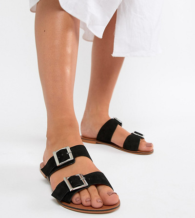 125796090ef2ca ASOS DESIGN Wide Fit Victorious leather buckle sliders