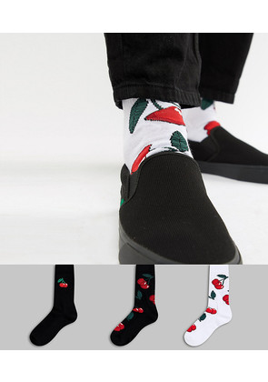 ASOS Sports Socks With Cherries 3 Pack - Multi