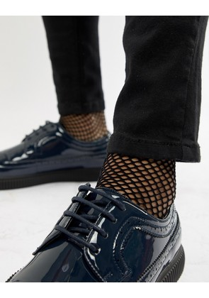 ASOS DESIGN fishnet socks with glitter welt - Black