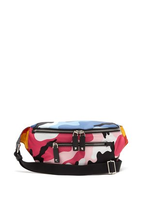 Camouflage-print nylon belt bag