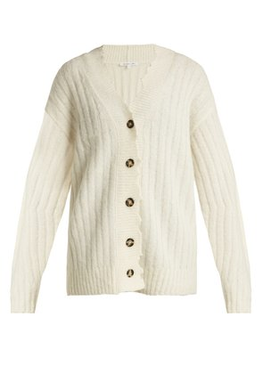 Distressed ribbed-knit cardigan