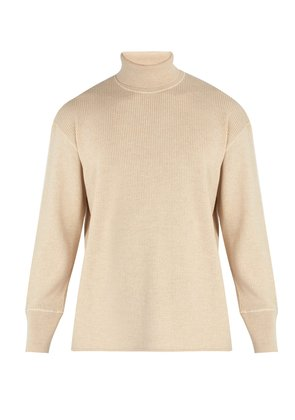 Ribbed wool and cotton-blend roll-neck sweater
