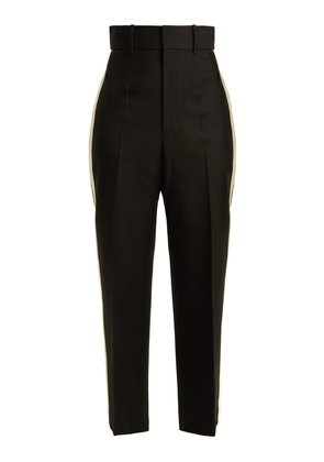 Silk-trimmed crepe trousers