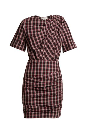 Oria tartan ruched cotton dress