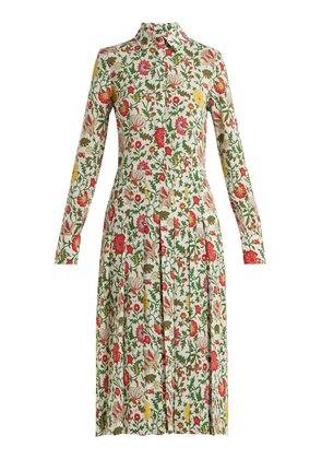 Chemisier floral-print pleated shirtdress