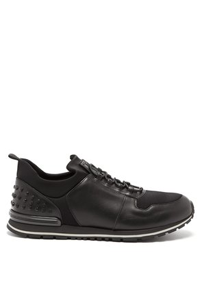 Low-top leather and neoprene trainers