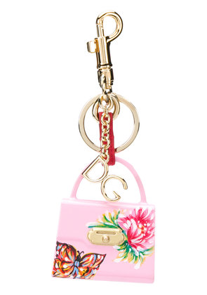Dolce & Gabbana Lucia charm key ring - Pink & Purple