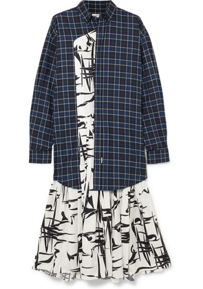 Balenciaga - Layered Silk-jacquard And Checked Cotton Dress - Black