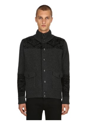 HEAVY WOOL JACQUARD BOMBER JACKET
