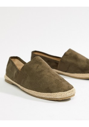 Brave Soul Wide Fit Faux Suede Espadrilles In Khaki - Green