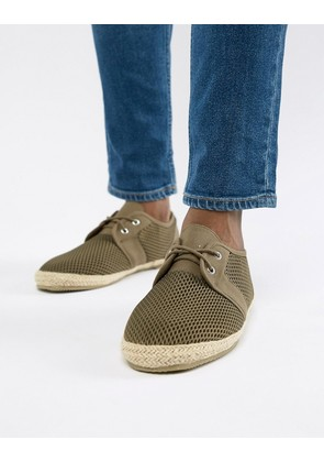 Brave Soul Wide Fit Lace Up Espadrilles In Khaki - Green