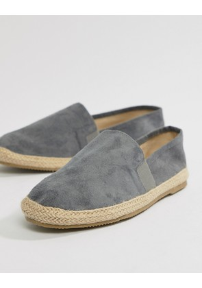 Brave Soul Wide Fit Faux Suede Espadrilles In Grey - Grey