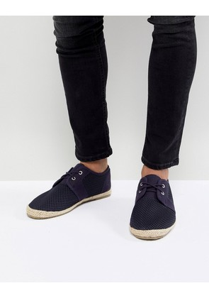 Brave Soul Lace Up Espadrilles In Navy Mesh - Blue
