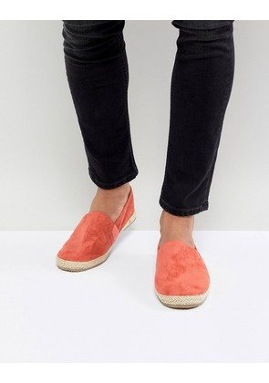 Brave Soul Faux Suede Espadrilles In Coral - Pink