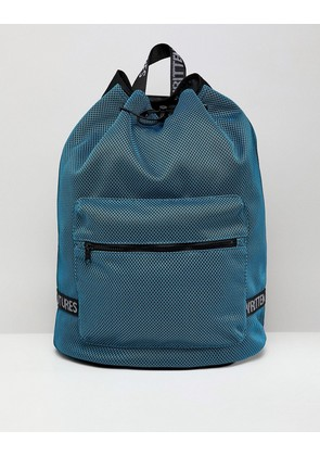 ASOS DESIGN Duffle Backpack In Blue Mesh With Internal Laptop Pouch - Blue