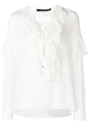 Polo Ralph Lauren frill trim long-sleeve blouse - White