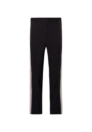 Slim-fit Stripe-trimmed Cotton-twill Trousers